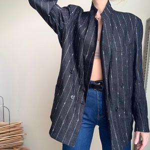 Vintage Charcoal Longline Blazer Jacket